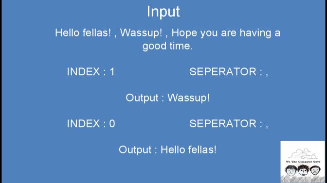Break String  using index and separator